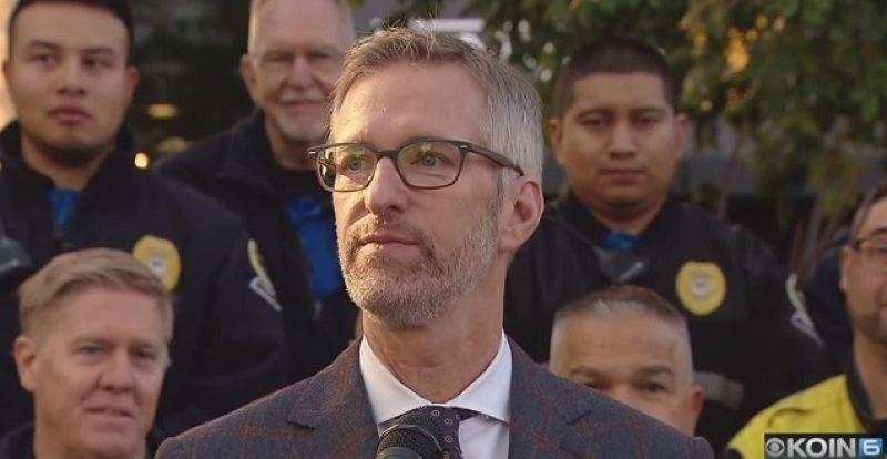 KOIN 6 NEWS - Mayor Ted Wheeler at the Oct. 11 press conference.