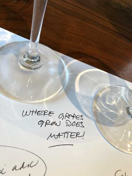 Barb Randalls notes from tasting Adelsheims wines included  this gem: Where grapes grow does matter!