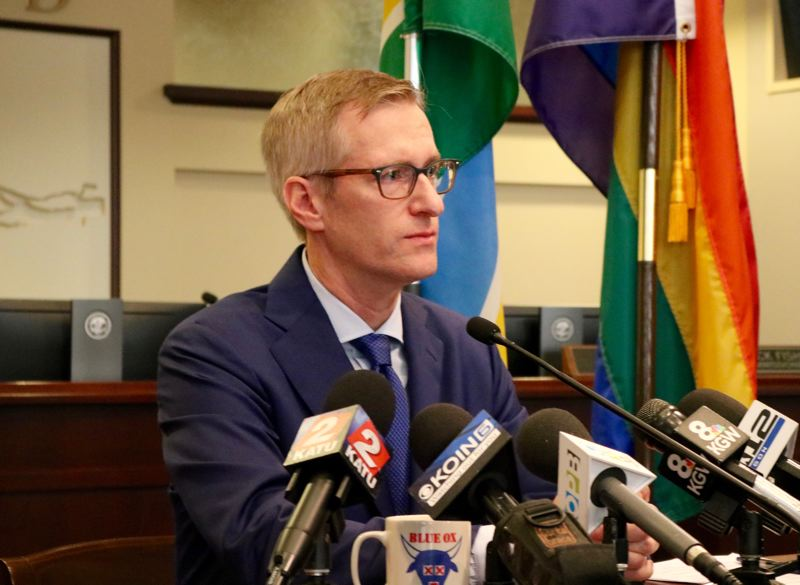 TRIBUNE PHOTO: ZANE SPARLING - Portland Mayor Ted Wheeler speaks during his monthly press conference at City Hall on Friday, Oct. 12.