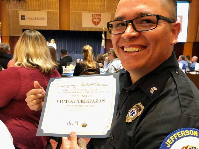 SUBMITTED PHOTO - Victor Terrazas earns state recognition as 'Advanced Emergency Medical Technician of the Year.'