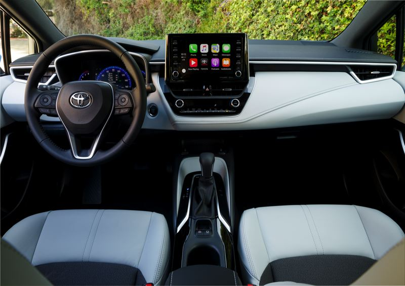 TOYOTA MOTOR SALES - The interior of the 2019 Toyota Corolla Hatchback is well designed and can be ordered with premium materials. The XSE model shown here is equipped with the optional Continuously Variable Transmission.