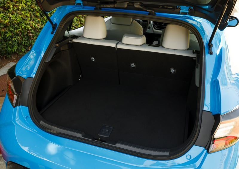TOYOTA MOTOR SALES - Additional cargo space is what hatchbacks are all about, and the 2019 Toyota Corolla version has plenty of it, even more with the rea seats folded down.