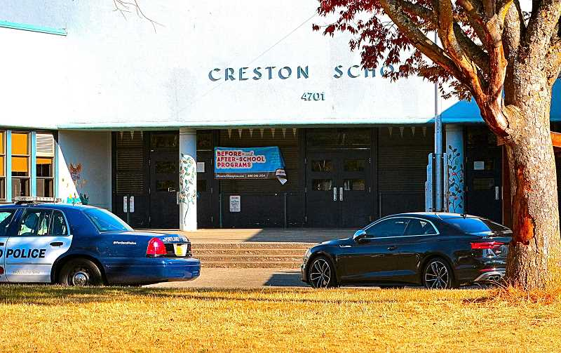 DAVID F. ASHTON - One marked and one undercover police car remained at the entrance of Creston K-9 School, when an armed parent was reported to have entered the school. The police later left without making an arrest.