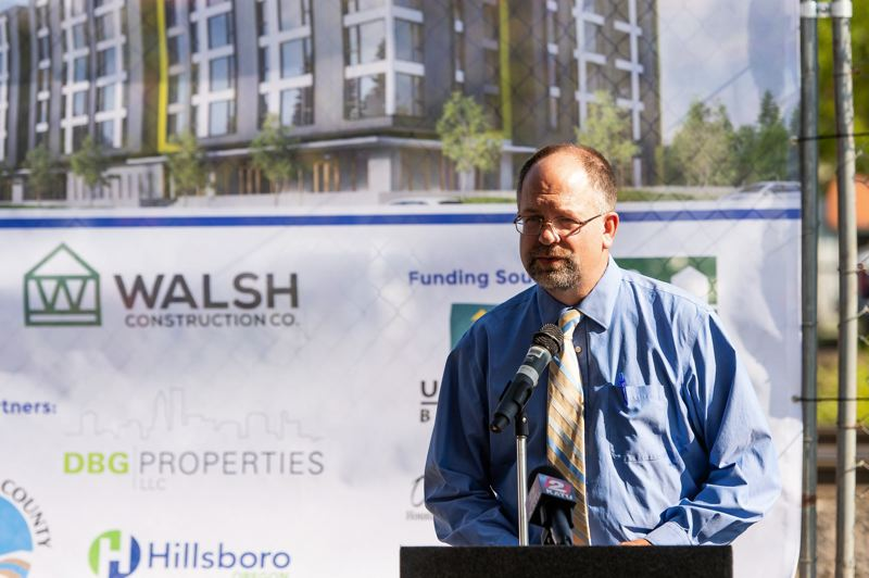 STAFF PHOTO: CHRISTOPHER OERTELL - Washington County Chairman Andy Duyck speaks during a groundbreaking ceremony for a low-income apartment complex in Hillsboro last month.