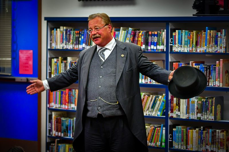 COURTESY PHOTO - Joe Wiegand plays Teddy Roosevelt, and he'll be in Oregon this week.