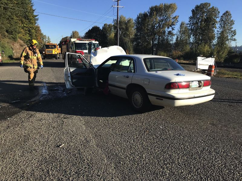 PHOTO COURTESY OF COLUMBIA RIVER FIRE AND RESCUE - Emergency crews responded to a two-vehcile crash near Highway 30 and Nicolai Cutoff Road on Tuesday, Oct. 16. Two drivers were transported to area hospitals with serious injuries.