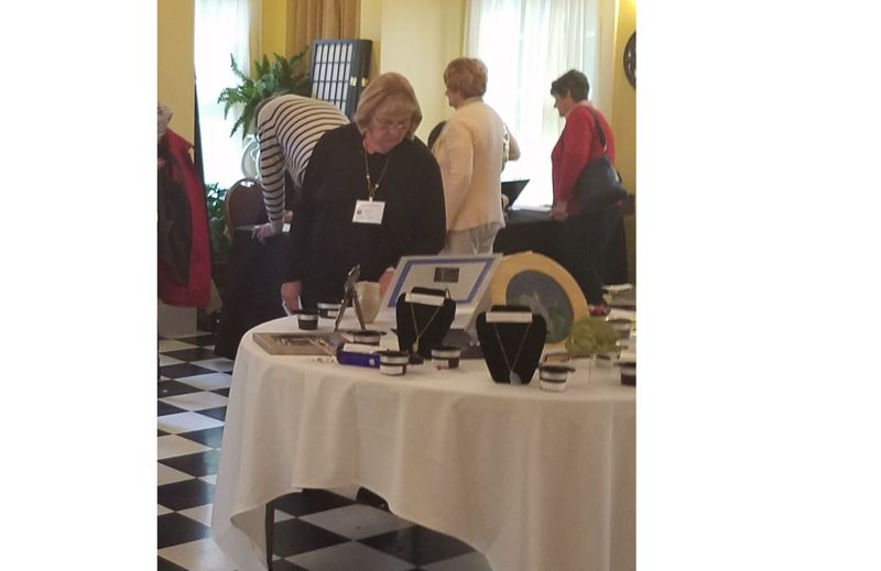 SUBMITTED PHOTO - Oregon City Woman's Club member Vicki Pearse checks out the silent auction items at last year's fundraising event.