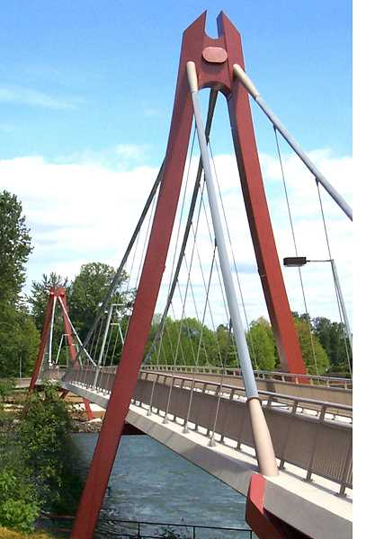 SUBMITTED PHOTOS - The Peter Defazio Bridge in Eugene is an example of a suspension bridge type.