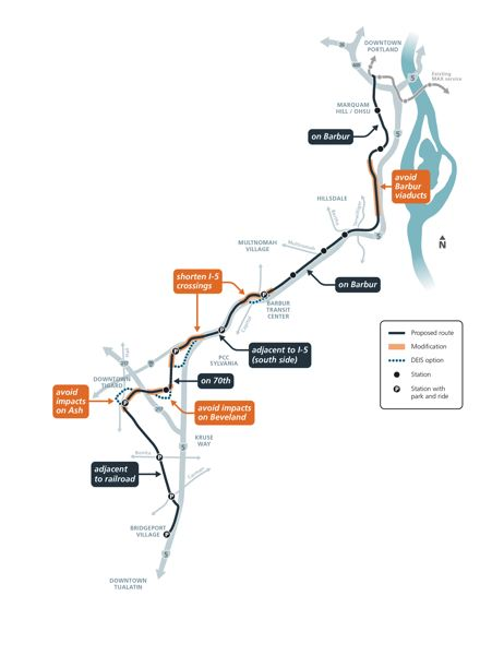 COURTESY METRO - The recommended route of the Southwest Corridor MAX line.