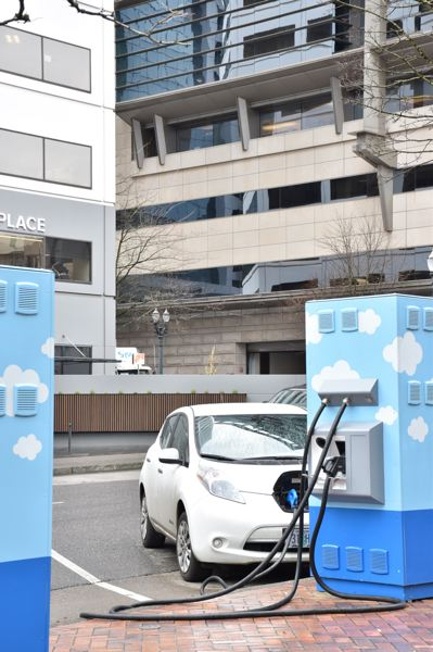 COURTESY PGE - An electric vehicle being charged in downtown Portland. A smiliar 'Electric Avenue' is coming to Hillsboro.