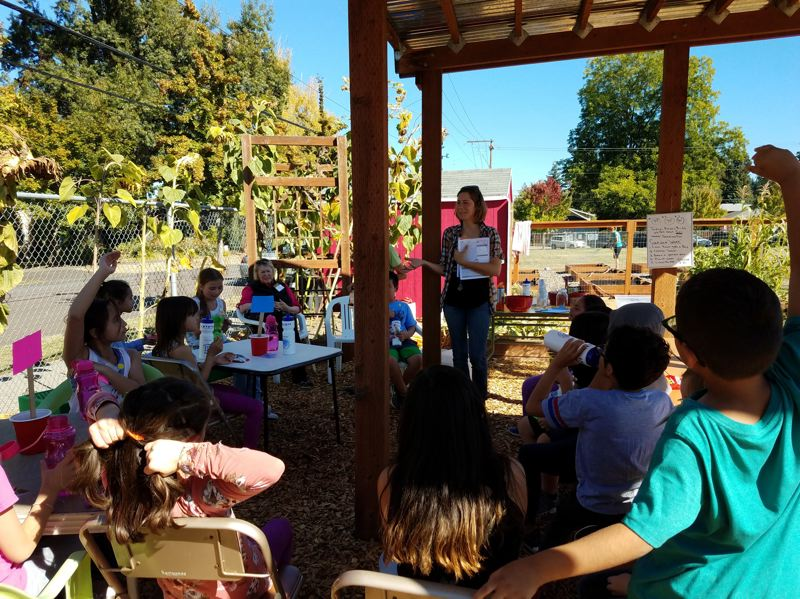 COURTESY PHOTO - Students at Lincoln Street Elementary School in Hillsboro have been working on their school's garden this fall as part of an effort to use gardens as learning spaces.
