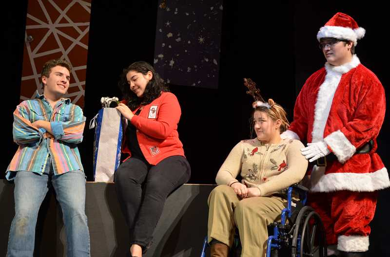 PHOTO COURTESY: LORI DALIPOSON - Kellan Taylor (left) performs alongside Emma Mendoza, Kahli Lathois and Tito Guzman in 'Reckless,' Glencoe High School's fall production, opening on Friday, Oct. 19.