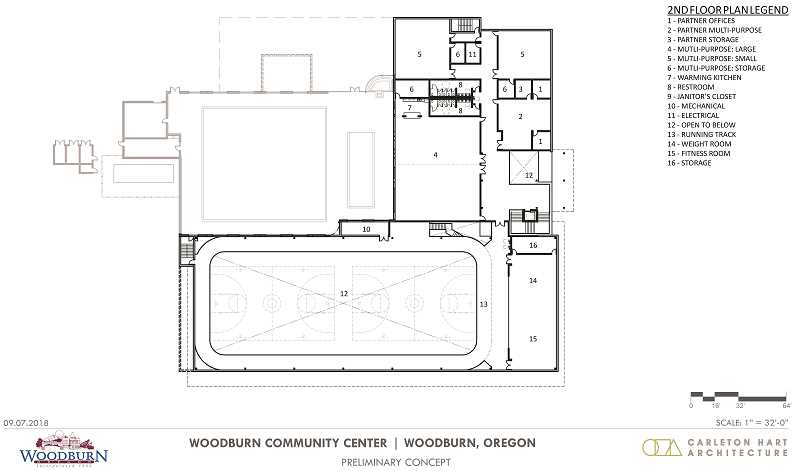 COURTESY RENDERING: CITY OF WOODBURN - Preliminary concept for a future Woodburn community center's second floor