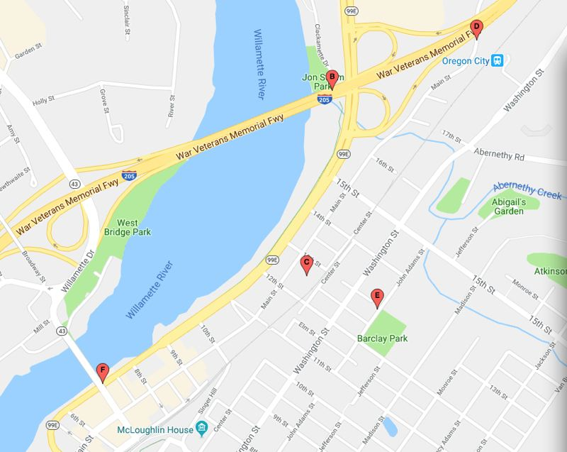 GOOGLE - This map shows the five Arta Potties in downtown Oregon City.