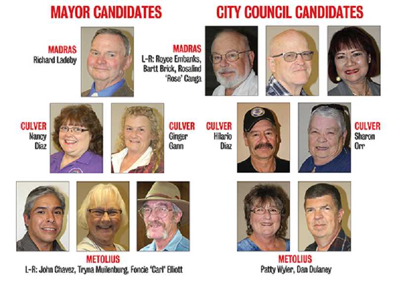 MADRAS PIONEER DISPLAY - A total of 13 candidates, six for mayor and seven for city council, are running for positions on the Madras, Culver and Metolius city councils.