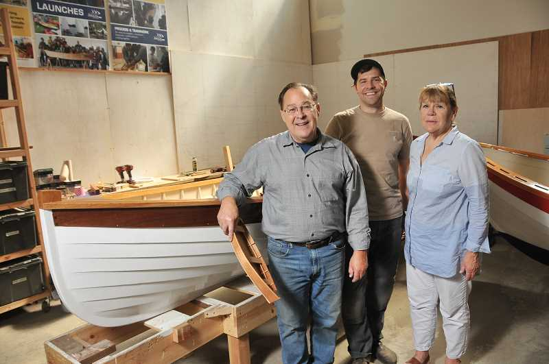 From left are Peter Crim, instructor Nathan Nelson and Jann Lane, of Wind & Oar Boat School.