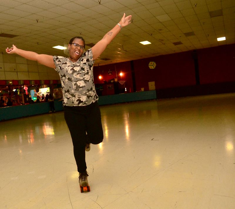 OUTLOOK PHOTO: VERN UYETAKE - Doris Johnson shows fine form as she moves across the floor during her 49th birthday celebration at Skate World on Saturday, Oct. 13.
