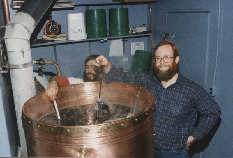 PHOTO PROVIDED BY MCMENAMINS - Conrad Santos (l) and Brian McMenamin (r) making beer in the early days at Oreon's original brewpub.  This could have been Termintor Stout.