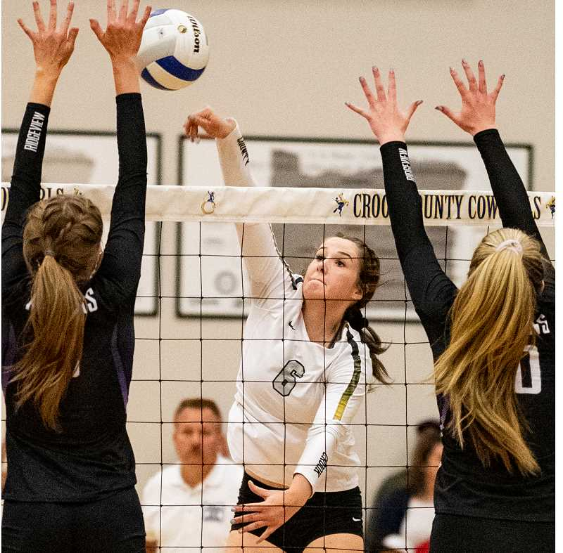 Raegan Wilkins goes up for one of her 16 kills during the Crook County loss to Ridgeview. The loss dropped the Cowgirls to third place in the Intermountain Conference.