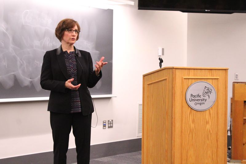 STAFF PHOTO: OLIVIA SINGER - U.S. Rep. Suzanne Bonamici talked about the role gender can play in politics, and gave advice about how to have a voice in government.