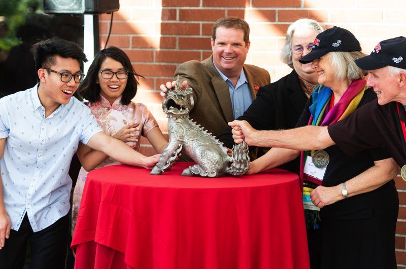 STAFF PHOTO: CHRISTOPHER OERTELL - 'Boxer III' was unveiled during a dedication ceremony at the Washburne University Center on the campus of Pacific University in Forest Grove Friday afternoon, Oct. 19.