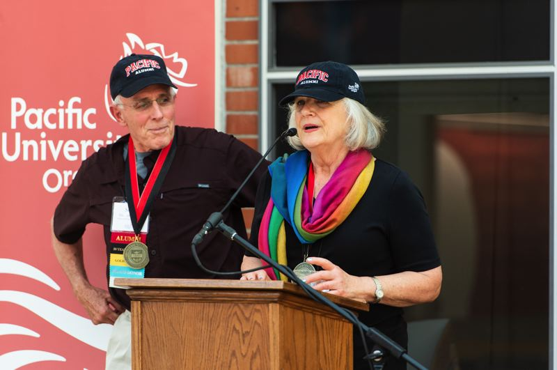 STAFF PHOTO: CHRISTOPHER OERTELL - Alumni Scott Pike and Monica Marvin spoke during the dedication about the enthusiasm the Boxer brought to the school over the years.