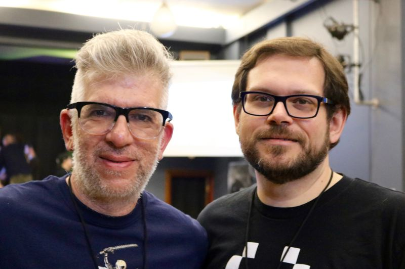 TRIBUNE PHOTO: ZANE SPARLING - Nikita Mikros, left, and Josh DeBonis are co-creators of Killer Queen and co-own BumbleBear games.