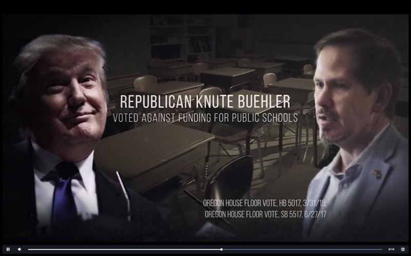 SCREENSHOT OF AD BY GOV. KATE BROWN'S CAMPAIGN - President Donald Trump and Oregon Rep. Knute Buehler, R-Bend, in ad by Gov. Kate Brown's campaign for reelection