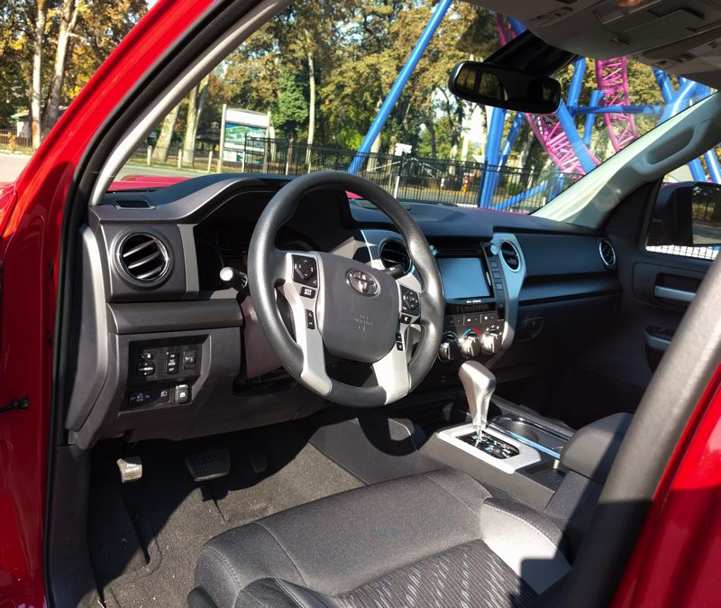 PAMPLIN MEDIA GROUP - There is plenty of room inside ther front of the 2019 Toyota Tundra 4X4 TRD Sport, and it comes with a lot of standard equipment.