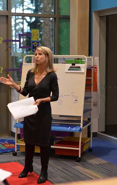 SPOKESMAN FILE PHOTO - Last year, Carrie Beck, dyslexia specialist for the Oregon Department of Education, spoke with familes at a dyslexia informational night about what dyslexia is and what the new legislation entails.