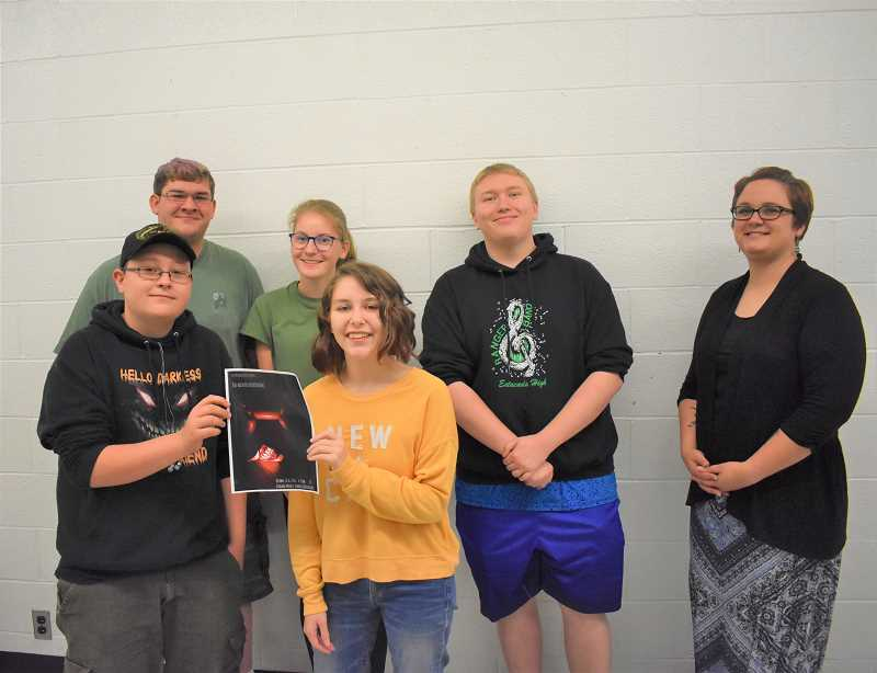 ESTACADA NEWS PHOTO: EMILY LINDSTRAND - Drama club members Michael Swenson, Jacyln Husband, Michael Swenson, moderator Jordan Collins, Chris Arroyo and Kae Nestor will soon present their annual Haunted Auditorium event.