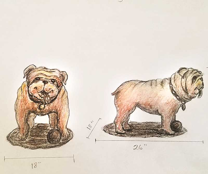 COURTESY PHOTO - Two sculptures are being proposed for installation in the Downtown Plaza: a bulldog, as a homage to Woodburn High School's mascot, and two children playing.