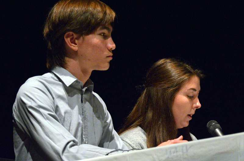 TIDINGS PHOTO: CLARA HOWELL  - James Nicholson, left, and Keira Kramer, WLHS students, help moderate the candidate forum.