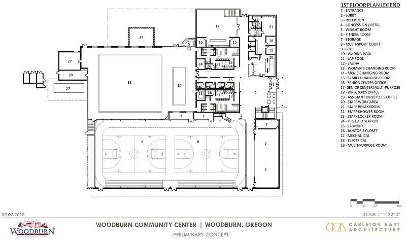 COURTESY PHOTO - A preliminary concept design for the first floor of the proposed Woodburn Community Center.