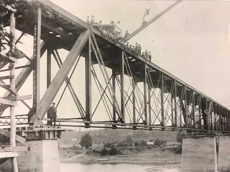 POTO COURTESY WILSONVILLE BOONES FERRY HISTORICAL SOCIETY - Electric railroad bridge under construcion in 1907.