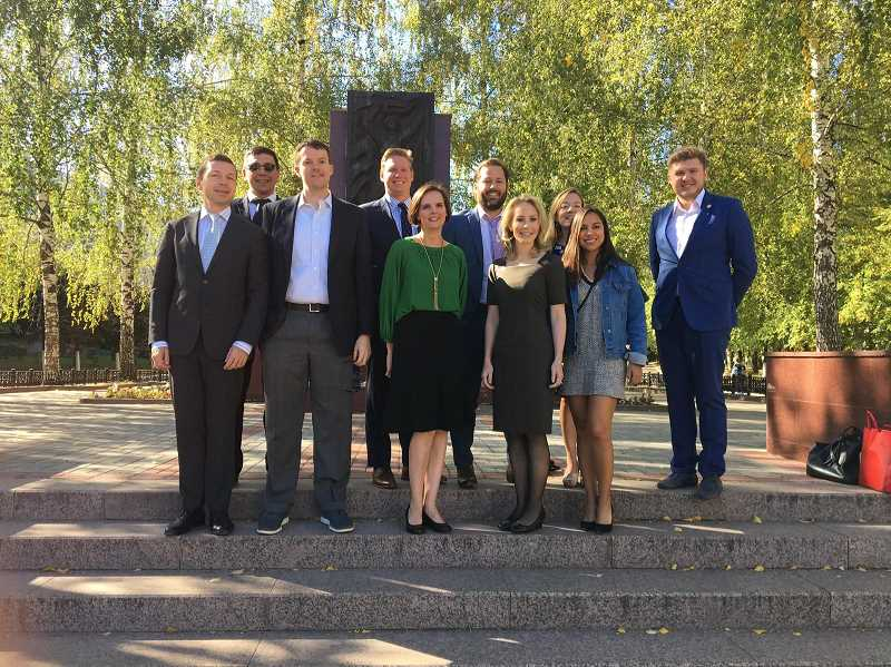 SUBMITTED PHOTO - Wilsonville City Councilor Kristin Akervall (center) visited Russia with the American Council of Young Political Leaders