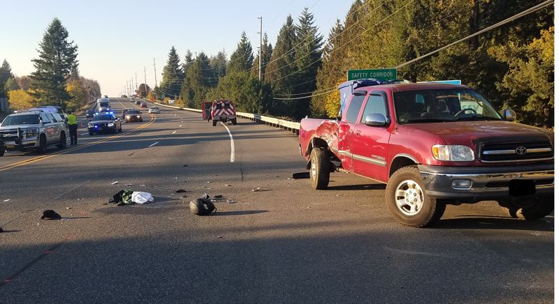 CONTRIBUTED PHOTO: OREGON STATE POLICE - Nicholas C. Irwin, 24, died after colliding on his 2017 Honda motorcycle with a 2000 Toyota Tundra truck operated by Estacada man Donald J. Edwards, 77.