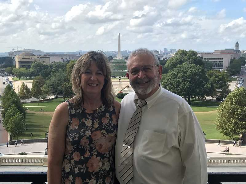 PHOTO SUBMITTED BY LAURA BARNEY - Crook County Commissioner Brian Barney poses on the Senate balcony with his wife Laura during his trip to Washington, D.C.
