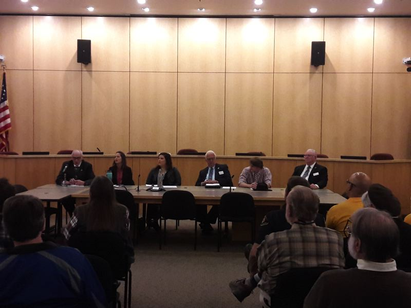 STAFF PHOTO: MARK MILLER - The six people running for positions on the Forest Grove City Council answered questions in front of a nearly full house at the Forest Grove Community Auditorium on Wednesday, Oct. 24.