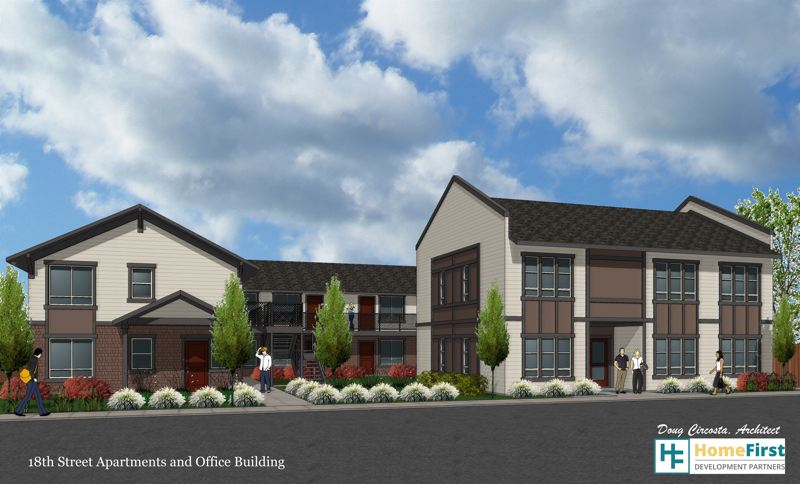 DOUG CIRCOSTA, HOME FIRST DEVELOPMENT PARTNERS - Architectural renderings show the design plan for a new 16-unit housing complex in St. Helens that will provide affordable housing next to the offices of Community Action Team.