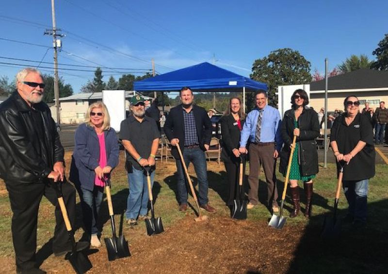 PHOTO COURTESY OF SELF HELP INC. - Board members with Community Action Team and Self Help Inc. celebrate a new affordable housing complex slated to be built in St. Helens on Oct. 11 during a groundbreaking ceremony.