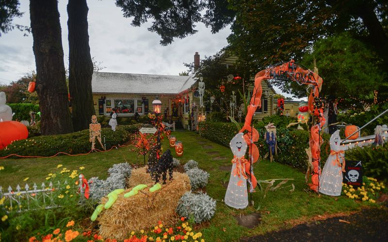 OUTLOOK FILE PHOTO - Rick and Linda Pazs house is all decked out for the scary season. Drive by 1722 S.W. Hensley Road in Troutdale after dusk for a truly illuminating experience.