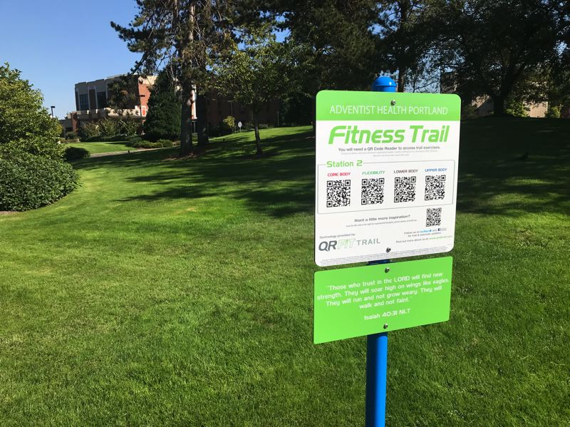 CONTRIBUTED PHOTO: ADVENTIST HEALTH PORTLAND - The new Adventist Medical Center walking trail features bar codes that can be scanned with a smartphone to start videos on the phone with exercises to enhance health.