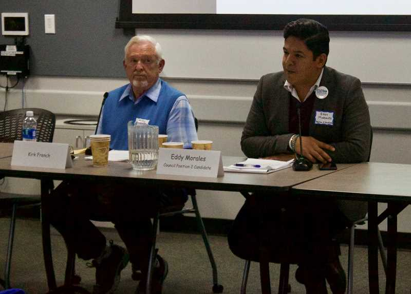 OUTLOOK PHOTO: CHRISTOPHER KEIZUR - Incumbent Kirk French and challenger Eddy Morales talked about the issues as they run for Gresham City Council Position 2.