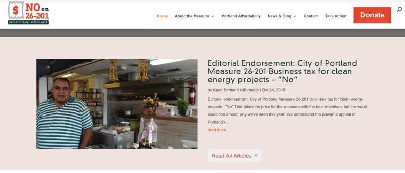 SCREENSHOT COURTESY YES FOR PORTLAND CLEAN ENERGY FUND - A screenshot of the No on M 26-201 website shows a picture of Spice Kitchen Manager Harry Lal, but he now says he didn't understand the measure and supports it.