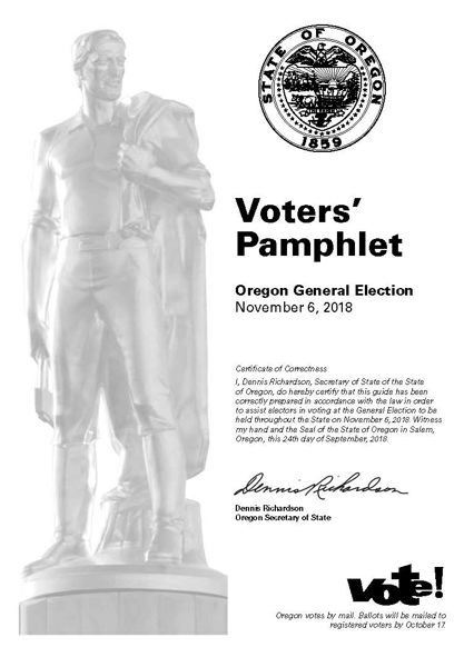 The cover of the Voters' Pamphlet for the Nov. 6 General Election.
