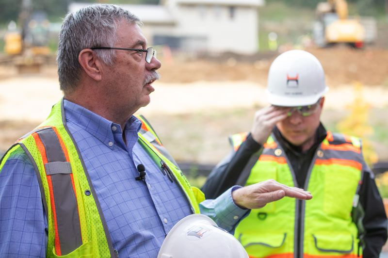 TRIBUNE PHOTO: JONATHAN HOUSE - Principal engineer Stan VandeBergh talks about the Washington Park Reservoir Improvement Project.