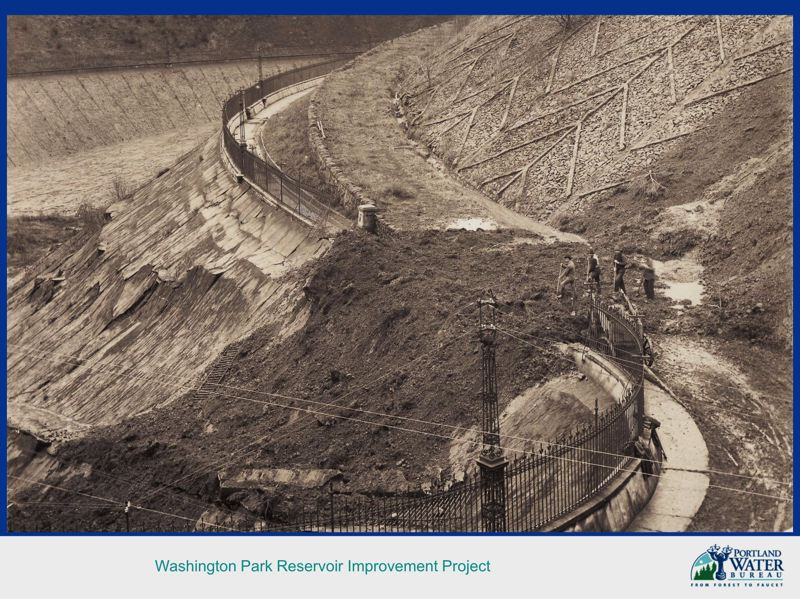 COURTESY; PORTLAND WATER BUREAU - The building of the Washington Park reservoirs, which opened in 1894. With thin conrete and little rebar they were not of a very high seismic standard.