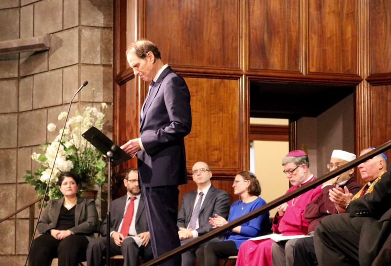 TRIBUNE PHOTO: ZANE SPARLING - U.S. Sen. Ron Wyden, D-Oregon, pauses for a moment during a gathering of faith leaders at Congregation Beth Israel in Portland on Sunday, Oct. 28.