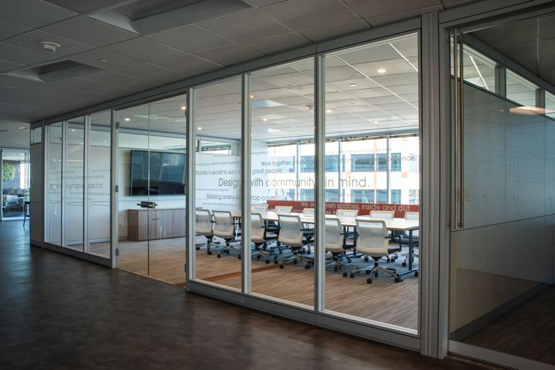 COURTESY: STANTEC - Sweeping views and abundant daylight provided by expanses of windows help create an open-air feel in Stantecs new 20,000-square-foot office space on the 14th floor of Moda Tower in downtown Portland.